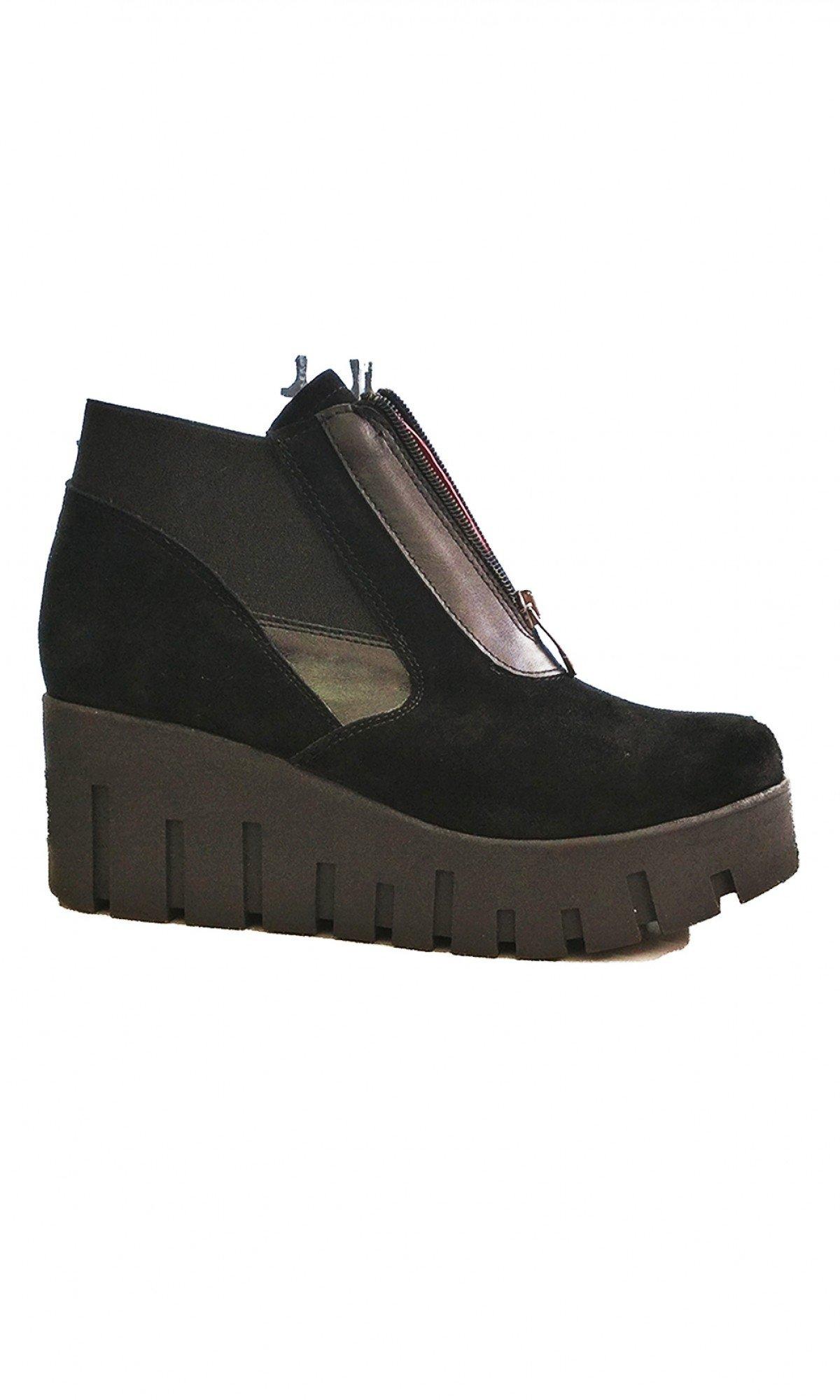 Black Suede Platform Shoes A15752