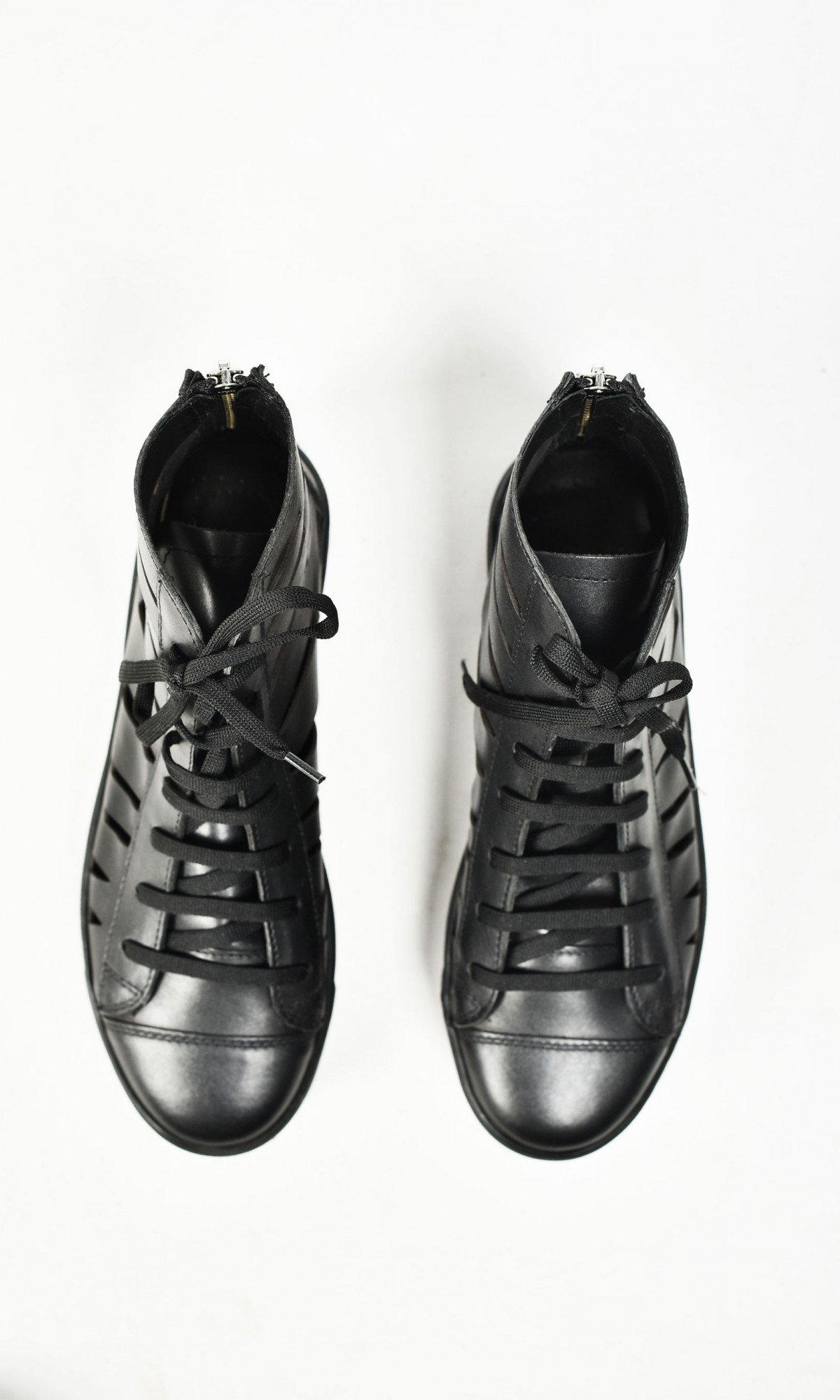 All Black Cutout High Leather Sneakers A15728