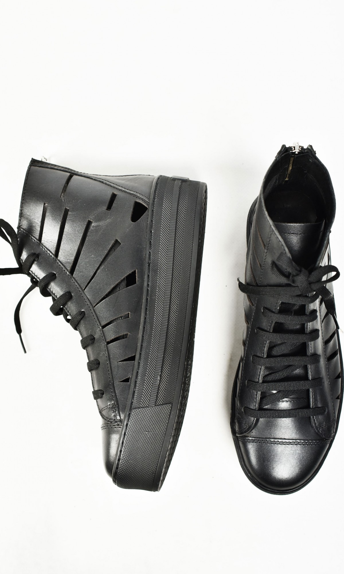 High Top Perforated Leather Sneakers A15728