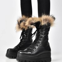 Genuine Leather Laced Boots with Fur A21707