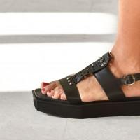 Black Aakasha Metal Studs & Rivets Flat Sandals A90278