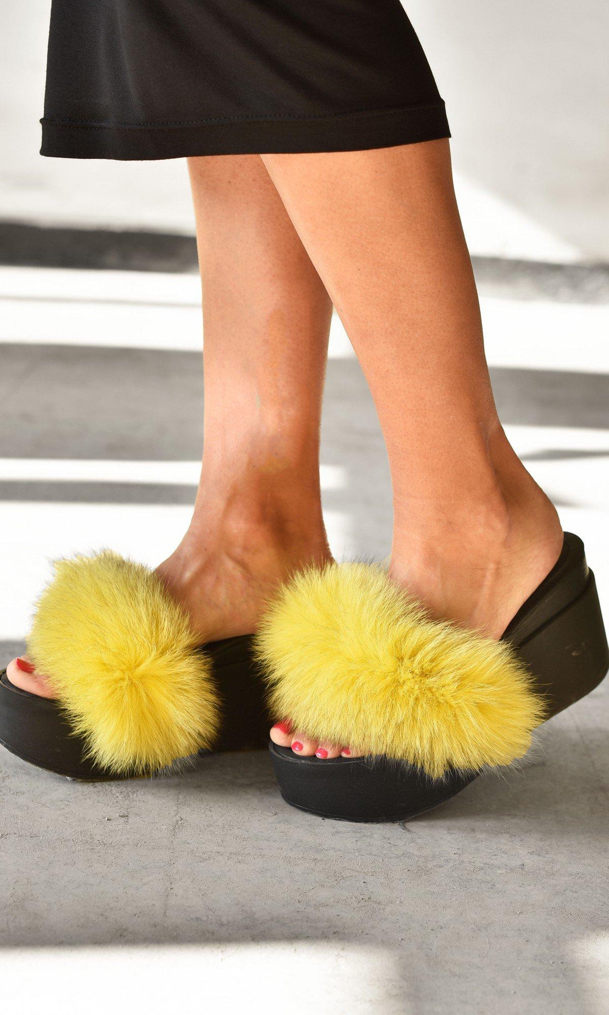 Fluffy Fur Slip-on Wedge Sandals A26810