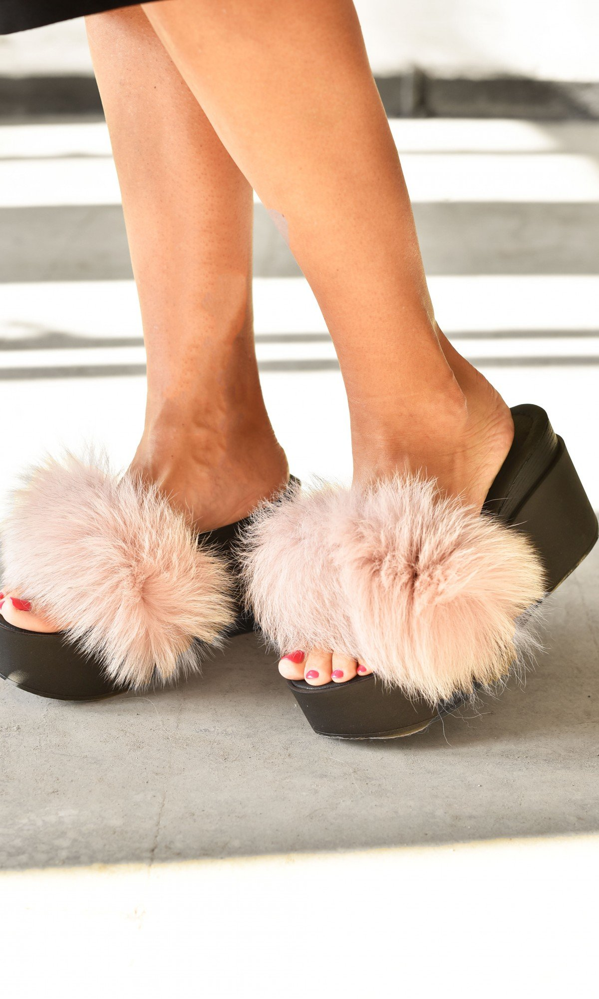 Fluffy Fur Slip-on Wedge Sandals A26810