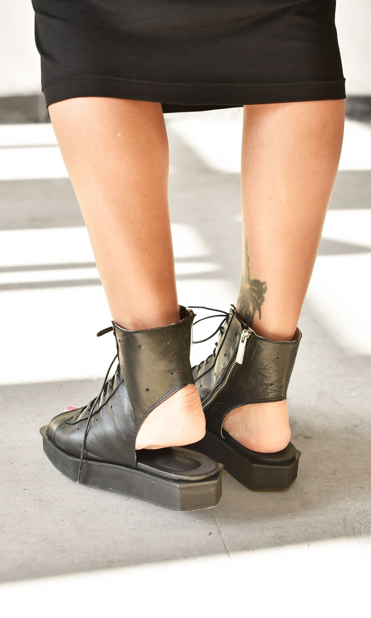 Genuine Leather Lace up  Boot Sandals A26814