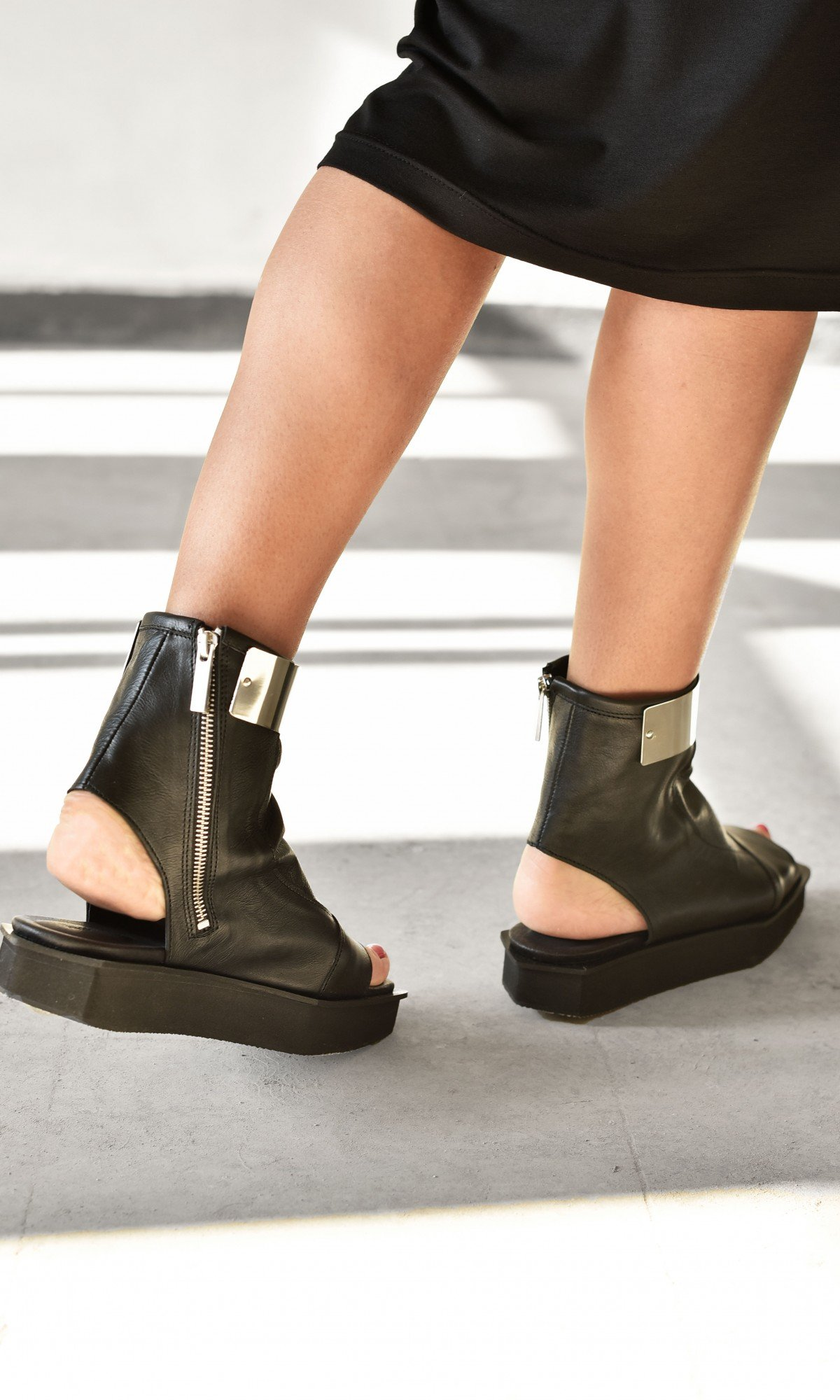 Metal Plate Ankle Strap Sock Sandals A26815