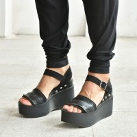 Black Aakasha Fringe Accent Leather Sandals A90315