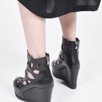 Black Genuine Leather Sexy Wedges Sandals A90475