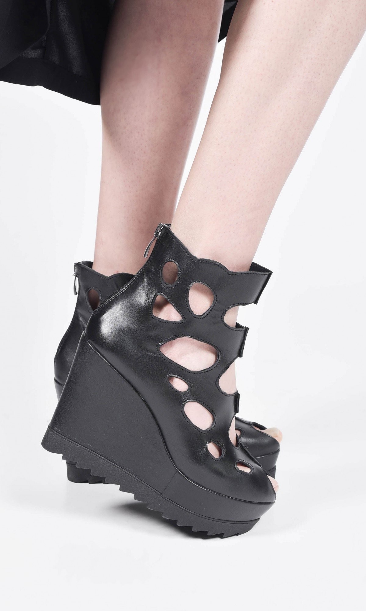 Black Genuine Leather Sexy Wedges Sandals A26821