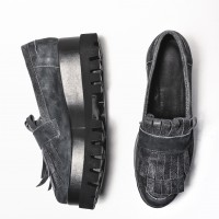 Genuine Suede Leather Shoes with frills A15603