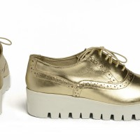 Gold Genuine Leather Sneakers A15217