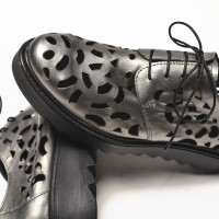 Genuine Leather grey perforated shoes A15649
