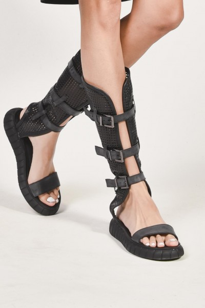 Flat Black Genuine Leather Mesh Sandals A26444