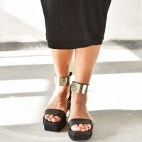 Metal Plate Ankle Strap Sandals A90440