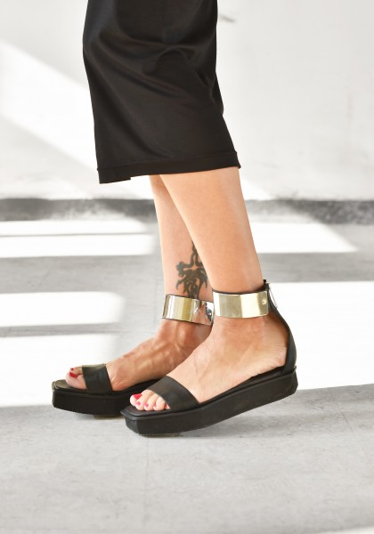 Metal Plate Ankle Strap Sandals