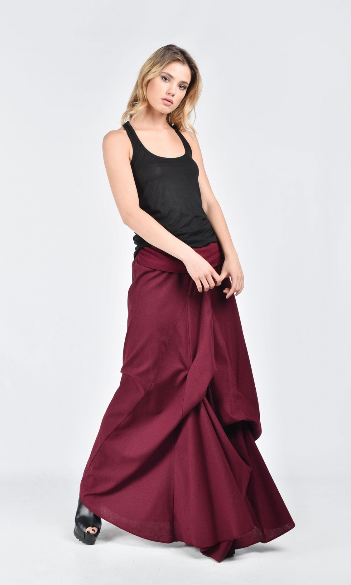 Linen Maxi Extravagant Skirt A09118
