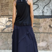 Burgundy Cotton Maxi Skirt