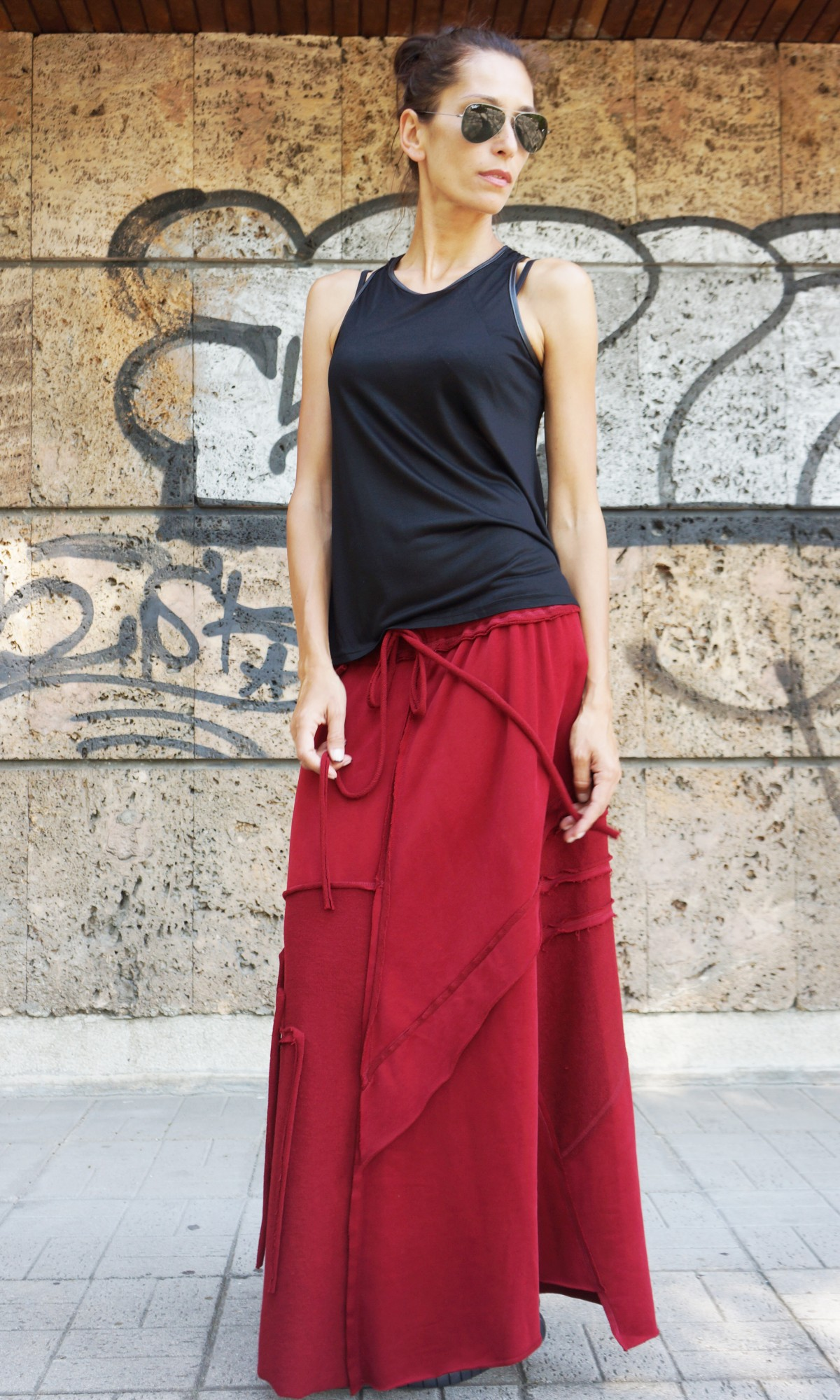 Burgundy Cotton Maxi Skirt