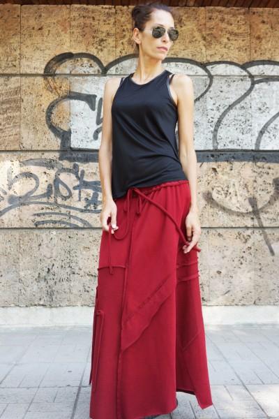 Burgundy Cotton Maxi Skirt A09385