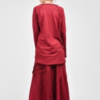 Burgundy Cotton Maxi Skirt A09385