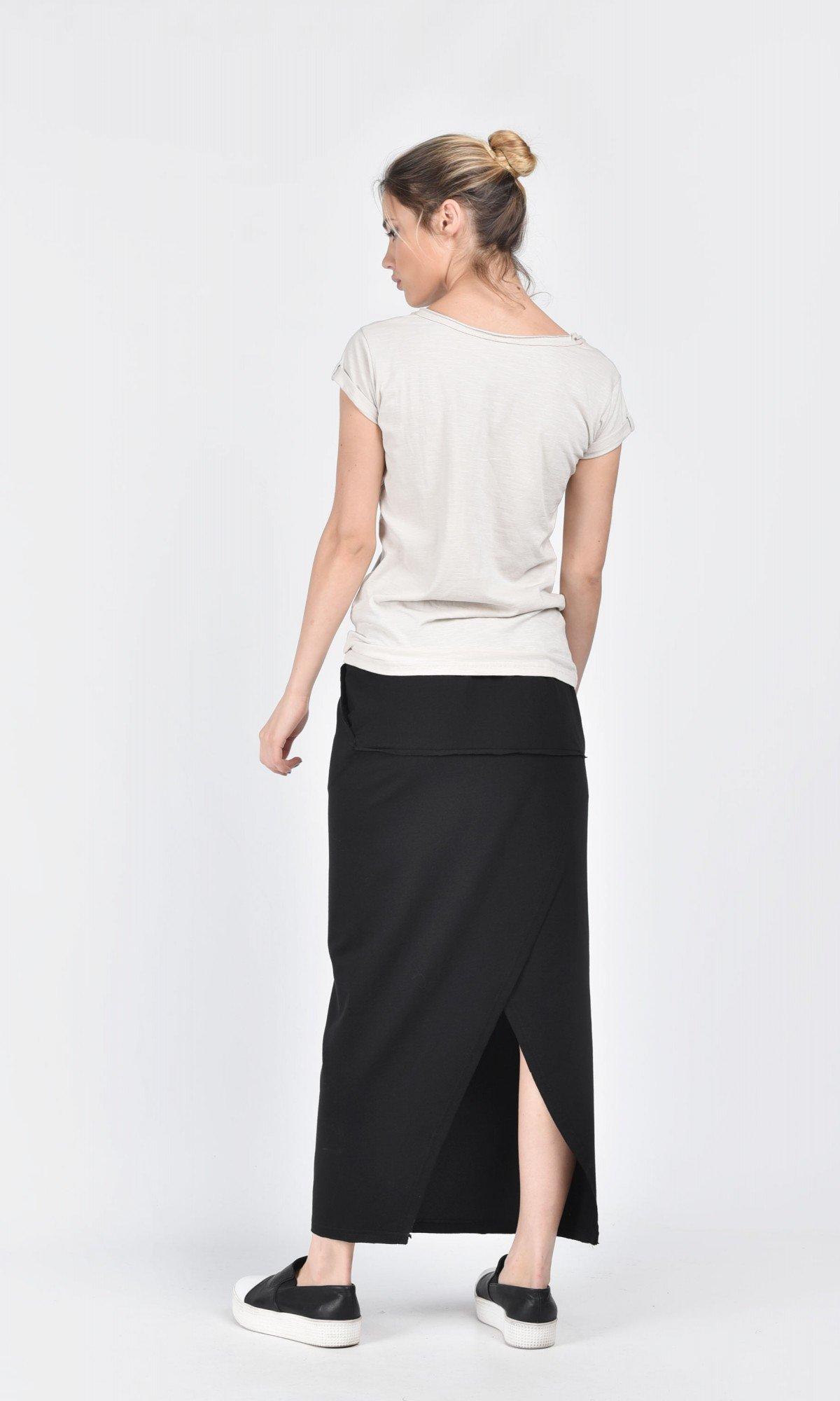 Black Cotton Maxi Skirt A09425