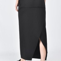 Black Cotton Maxi Skirt A09425