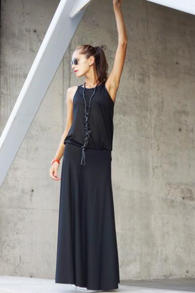 Black Viscose Maxi Skirt