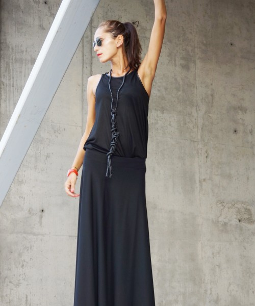 Black Viscose Maxi Skirt A09480
