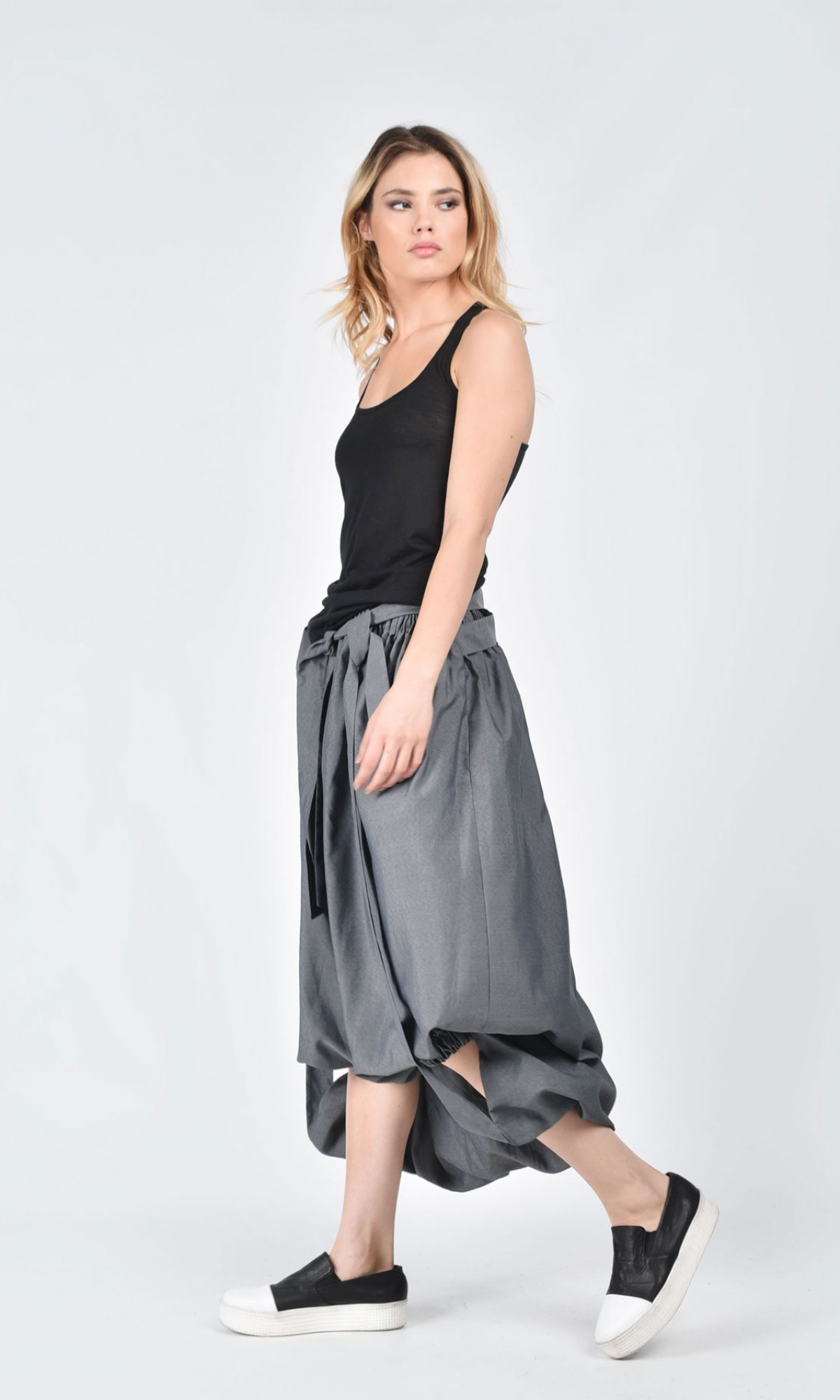 grey extravagant high low skirt