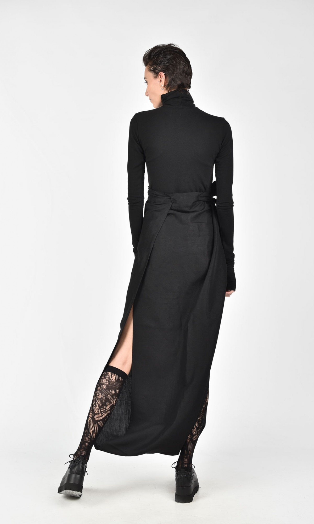 Asymmetric Wide Leg Wrap Skirt A09598