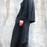 Black Linen Wrapped Maxi Skirt  A90061