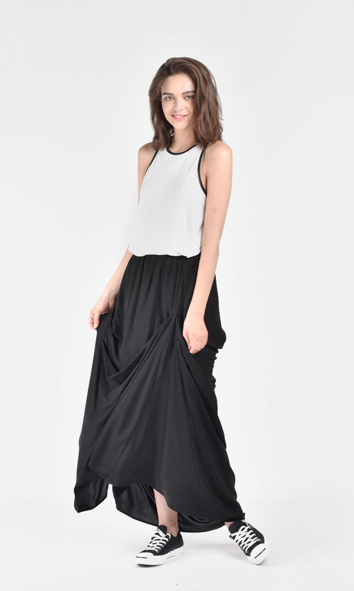 Maxi Extravagant Draped Skirt A09656