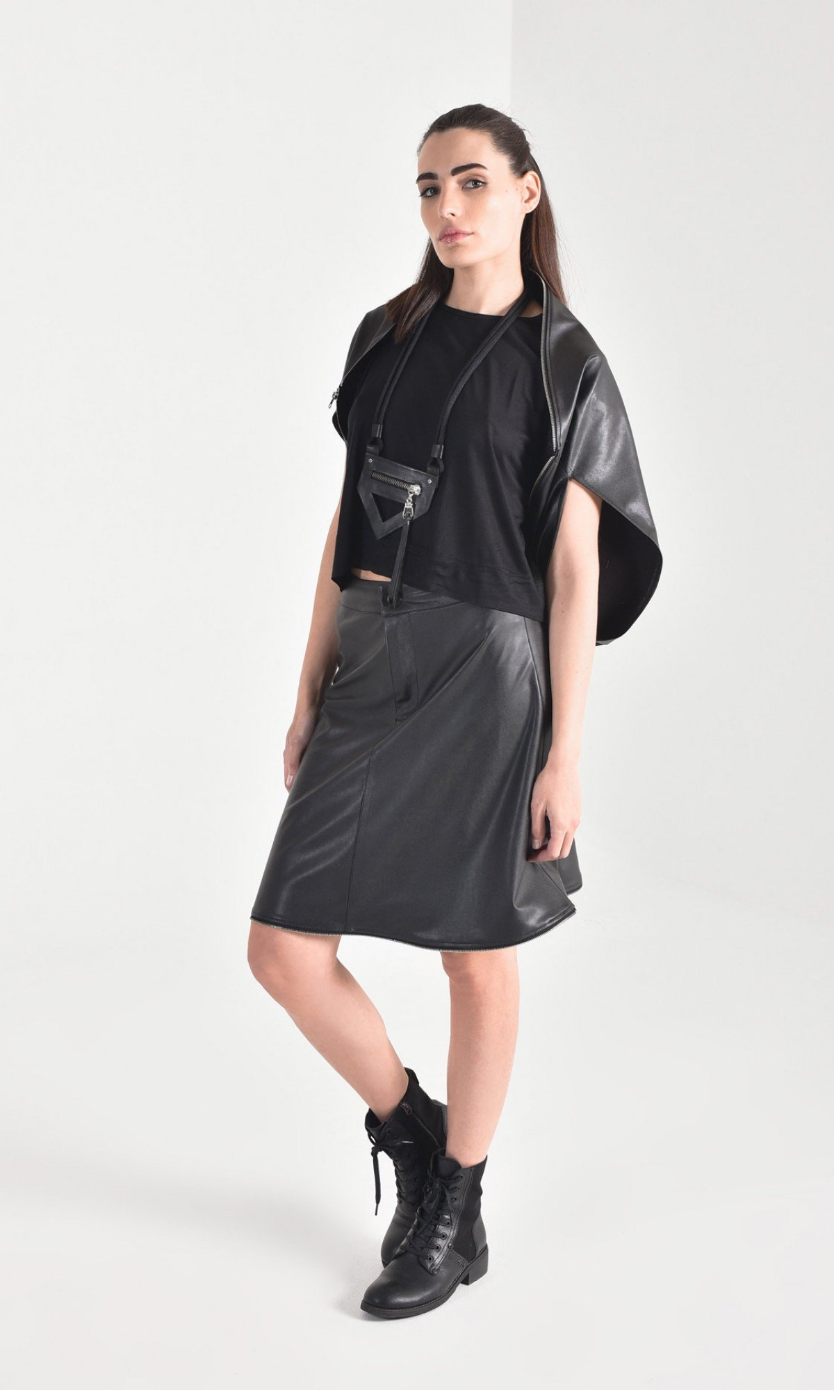 Extravagant two piece faux leather skirt A90461