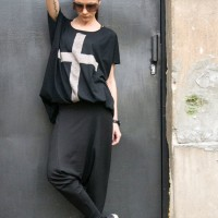 "Black Cotton ""Cross"" Tee A12146"