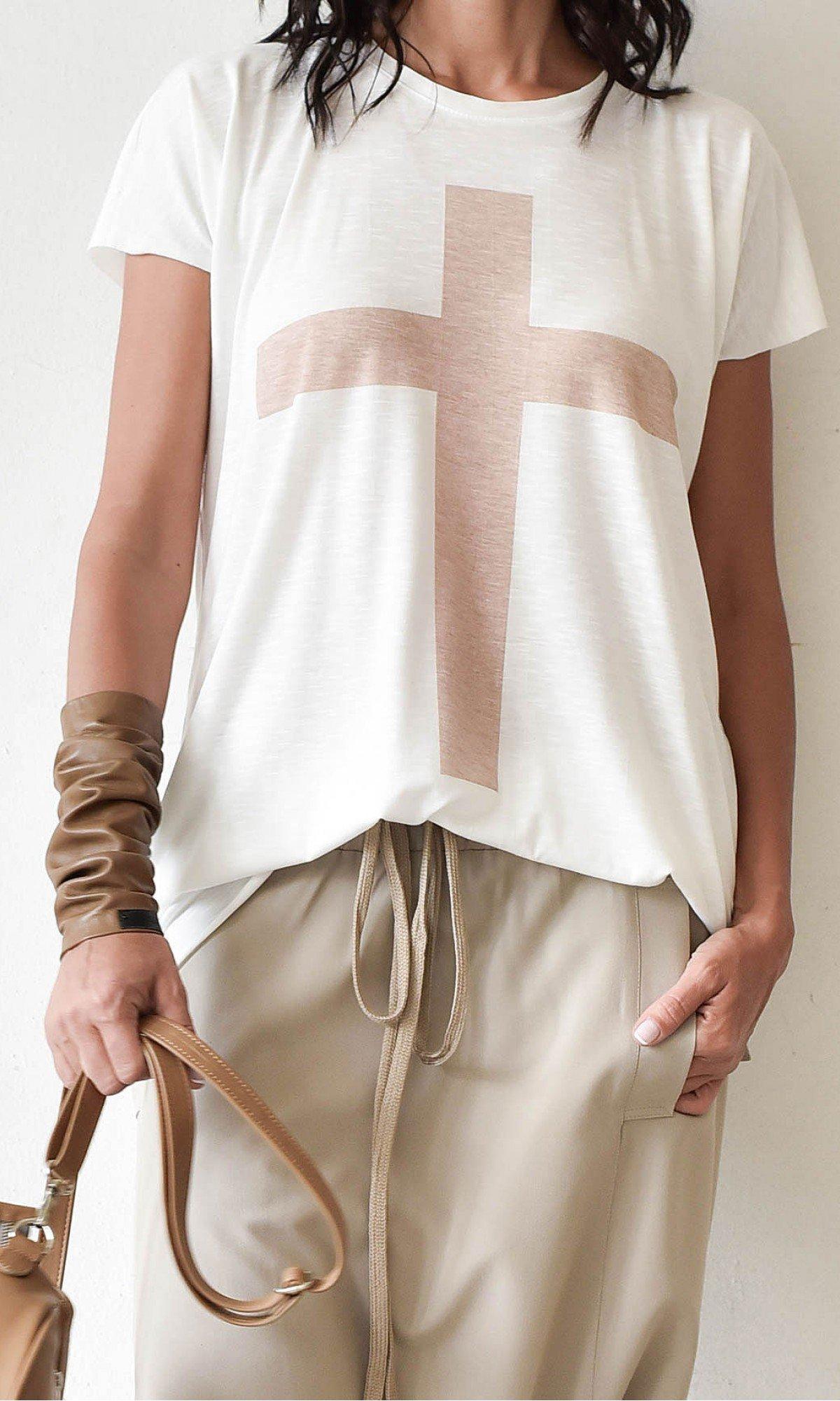 White Cotton 'Cross' Tee A12146