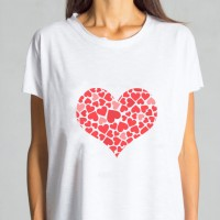 Cute Heart Print White Blouse