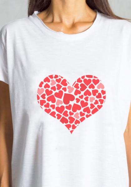 Cute Heart Print White Blouse A224000117