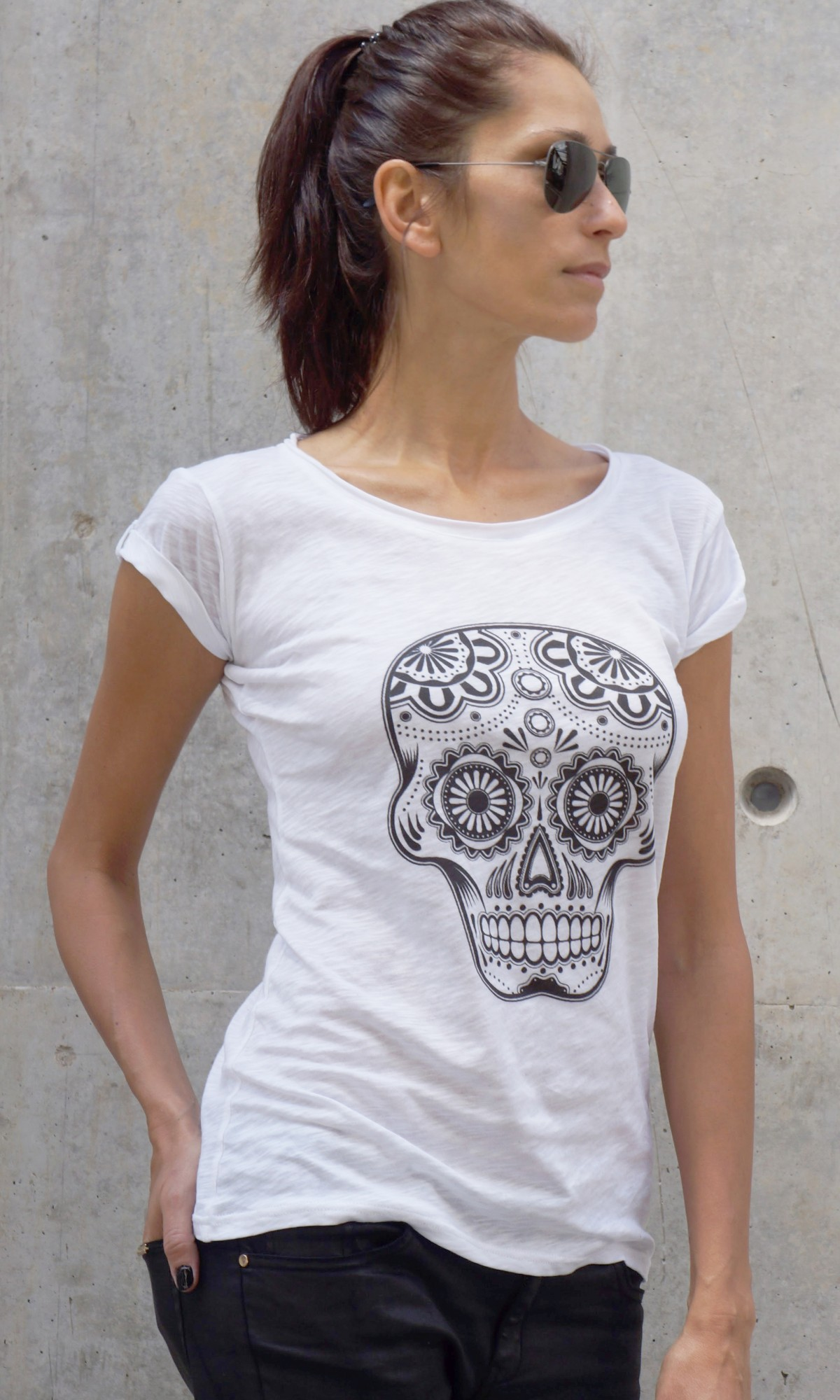 Printees - White Cotton Skull T-shirt A224330327