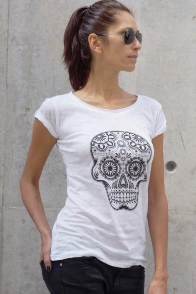 White Cotton Skull T-shirt A224330327