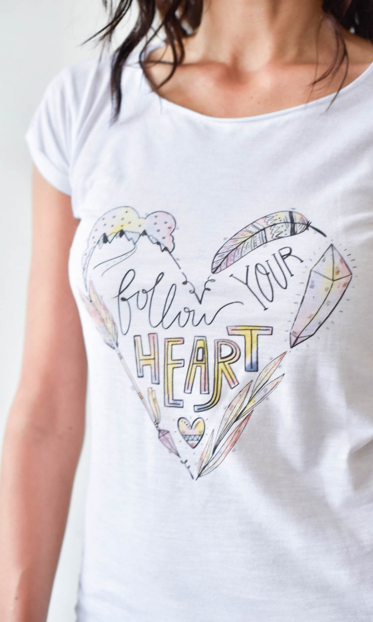 White Cotton Follow Your Heart Print T-shirt A90251