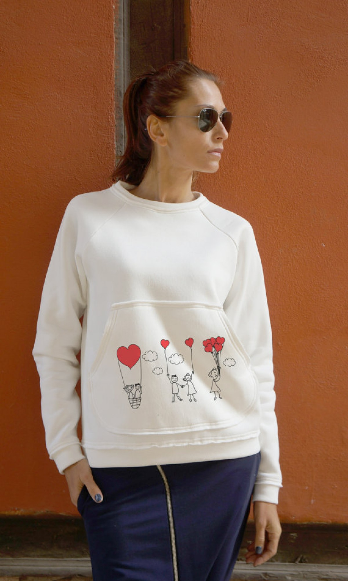 Cute Love Print with a Kangaroo Pocket Blouse A084050375