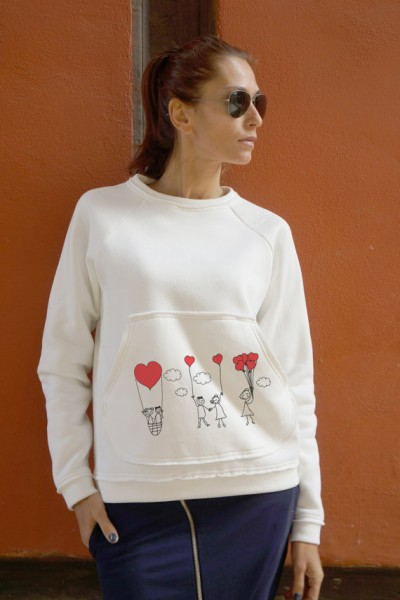 Cute Love Print with a Kangaroo Pocket Blouse