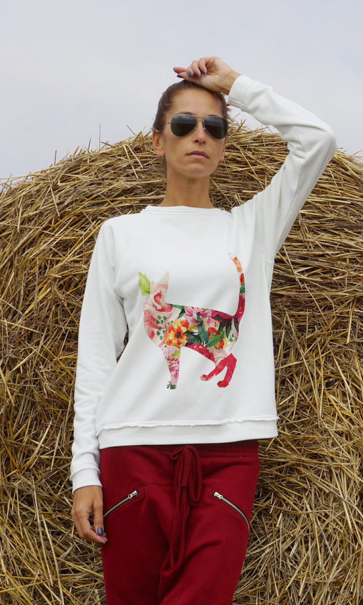 Cute Flower Cat Print Sweatshirt