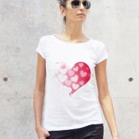 Printees - White Hearts in a Heart Printed Tee A224330415