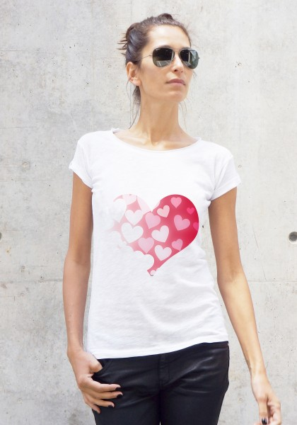 White Hearts in a Heart Printed Tee A224330415