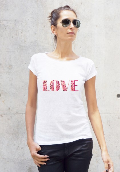 "White ""Love"" Printed Tee A224330417"