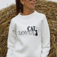 Cute Cat Lover Print Sweatshirt