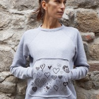 Cute Doodle Heart Print Light Grey Blouse