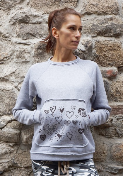 Cute Doodle Heart Print Light Grey Blouse A084050413