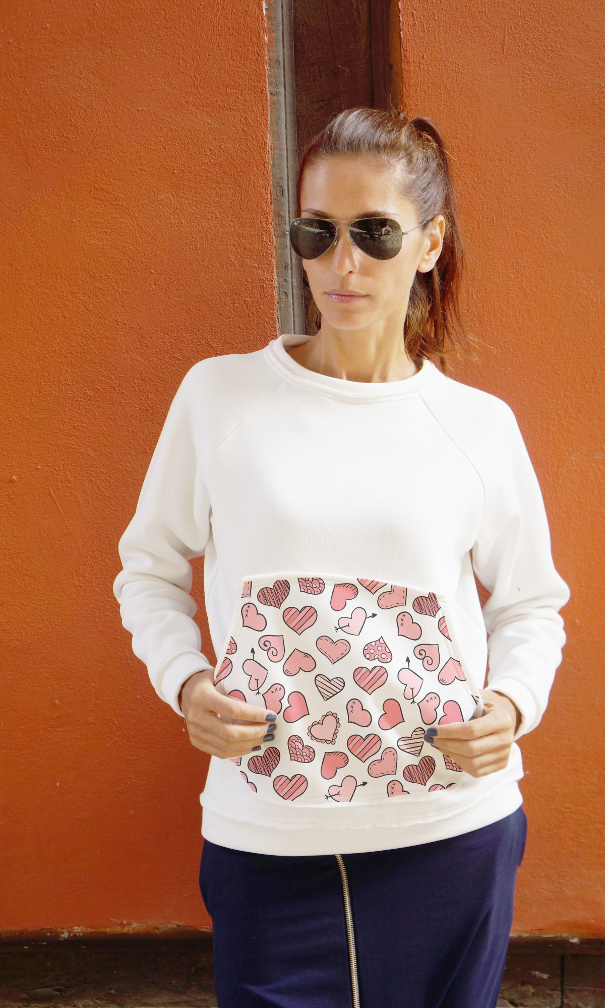 Cute Hearts on Pocket White Blouse