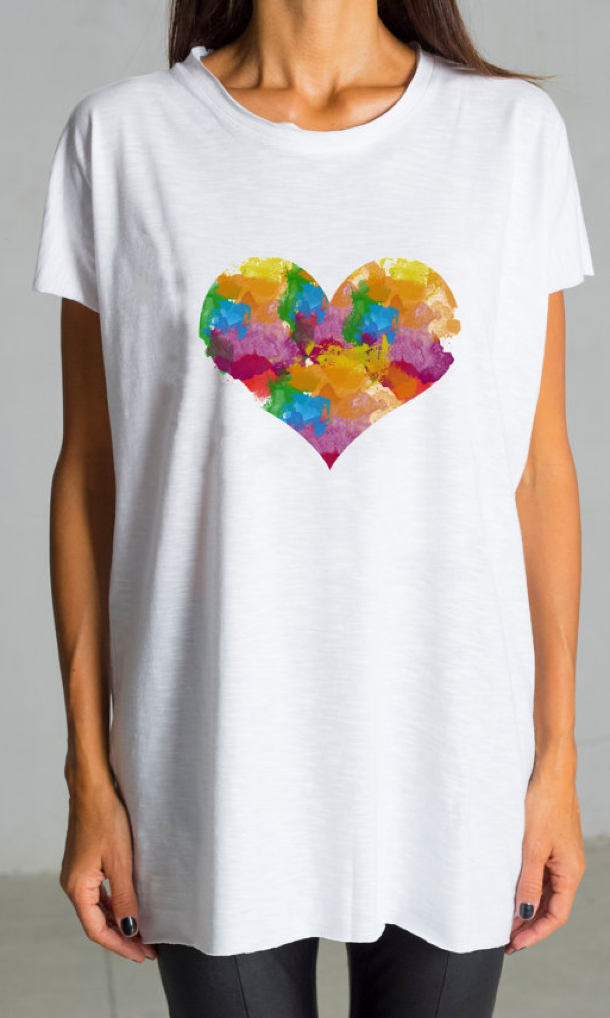 Cute Multicolored Heart Print White Tee